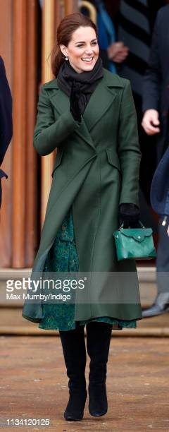 Catherine Duchess of Cambridge visits Blackpool Tower and greets members of the public on the Comedy Carpet on March 6 2019 in Blackpool England