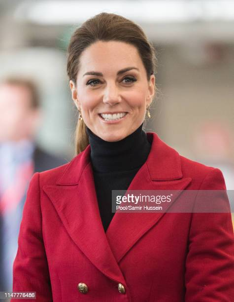 Catherine, Duchess of Cambridge visits Caernarfon Coastguard Search and Rescue Helicopter Base during a visit to North Wales on May 08, 2019 in...