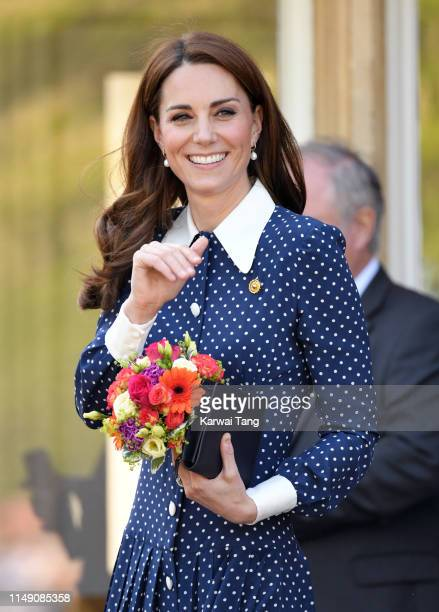 Catherine Duchess of Cambridge visits DDay exhibition at Bletchley Park on May 14 2019 in Bletchley England The DDay exhibition marks the 75th...