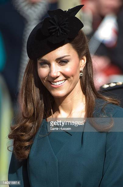 Catherine Duchess of Cambridge visits De Montford University during a visit to Leicester on March 8 2012 in Leicester England