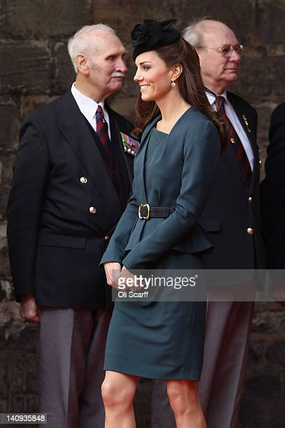 Catherine Duchess Of Cambridge visits De Montfort University on March 8 2012 in Leicester England The royal visit to Leicester marks the first date...