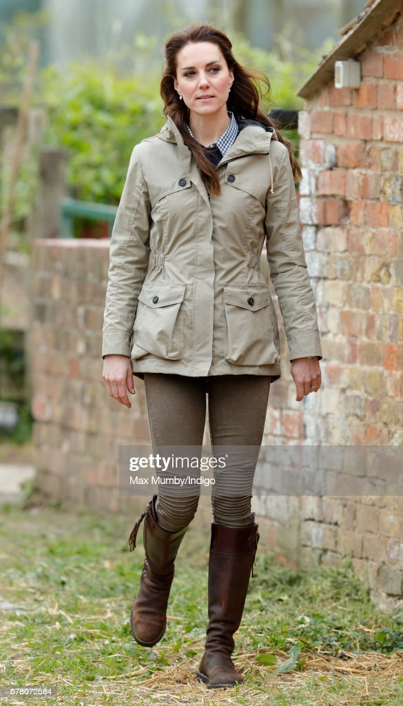 Catherine, Duchess of Cambridge visits Farms for City Children on May 3, 2017 in Arlingham, England. Farms for City Children is a charity which offers children in the UK a chance to live and work on a real farm for a week.