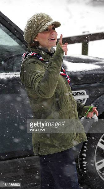 Catherine Duchess of Cambridge visits Great Tower Scout camp on March 22 2013 in Windermere Cumbria United Kingdom The Duchess of Cambridge attended...