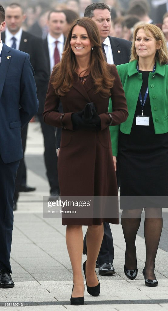 Catherine, Duchess of Cambridge visits Havelock Academy during an official visit to Grimsby on March 5, 2013 in Grimsby, England.