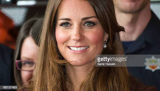 Catherine Duchess of Cambridge visits Humberside Fire and Rescue during an official visit to Grimsby on March 5 2013 in Grimsby England