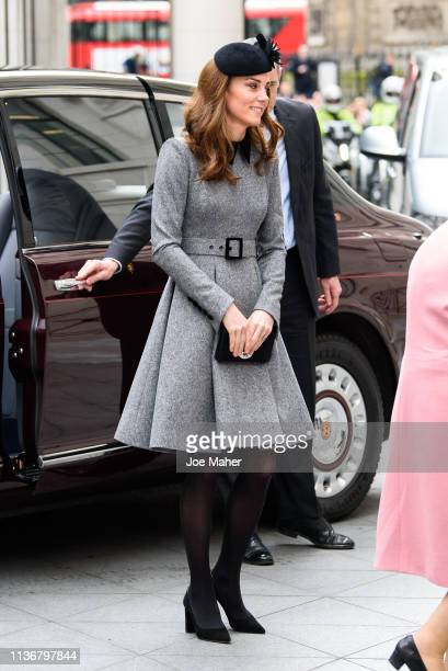 Catherine, Duchess of Cambridge visits King's College London on March 19, 2019 in London, England to officially open Bush House, the latest education...