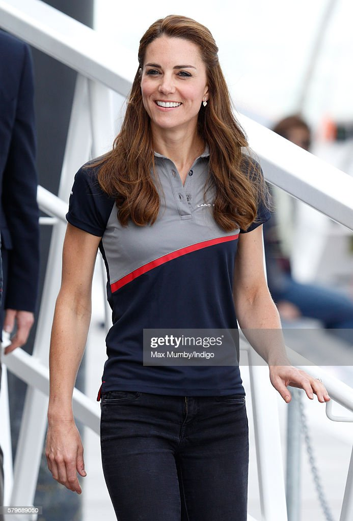 Catherine, Duchess of Cambridge visits Land Rover BAR during the America's Cup World Series on July 24, 2016 in Portsmouth, England.