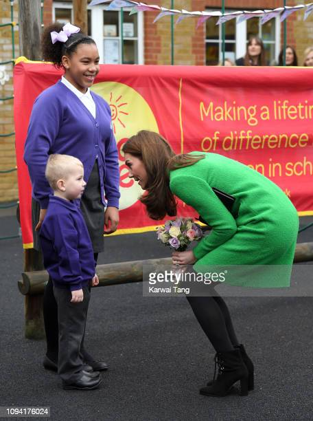 Catherine Duchess of Cambridge visits Lavender Primary School in support of Place2Be's Children's Mental Health Week 2019 in Enfield on February 5...