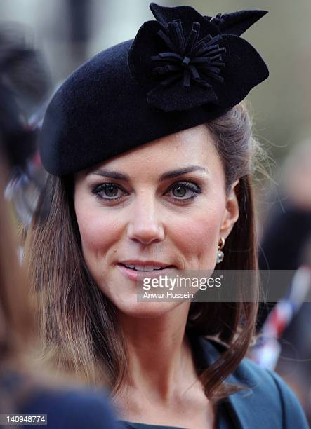 Catherine Duchess of Cambridge visits Leicester Cathedral as she accompanies The Queen and the Duke of Edinburgh on a tour of Leicester on March 8...