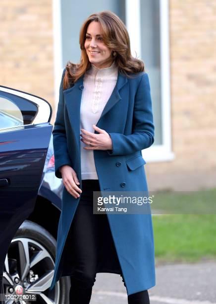 Catherine, Duchess of Cambridge visits LEYF Stockwell Gardens Nursery & Pre-School on January 29, 2020 in London, England.
