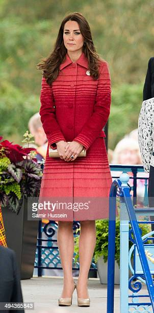 Catherine Duchess of Cambridge visits MacRostyy Park during an official visit to Scotland on May 29 2014 in Crieff Scotland