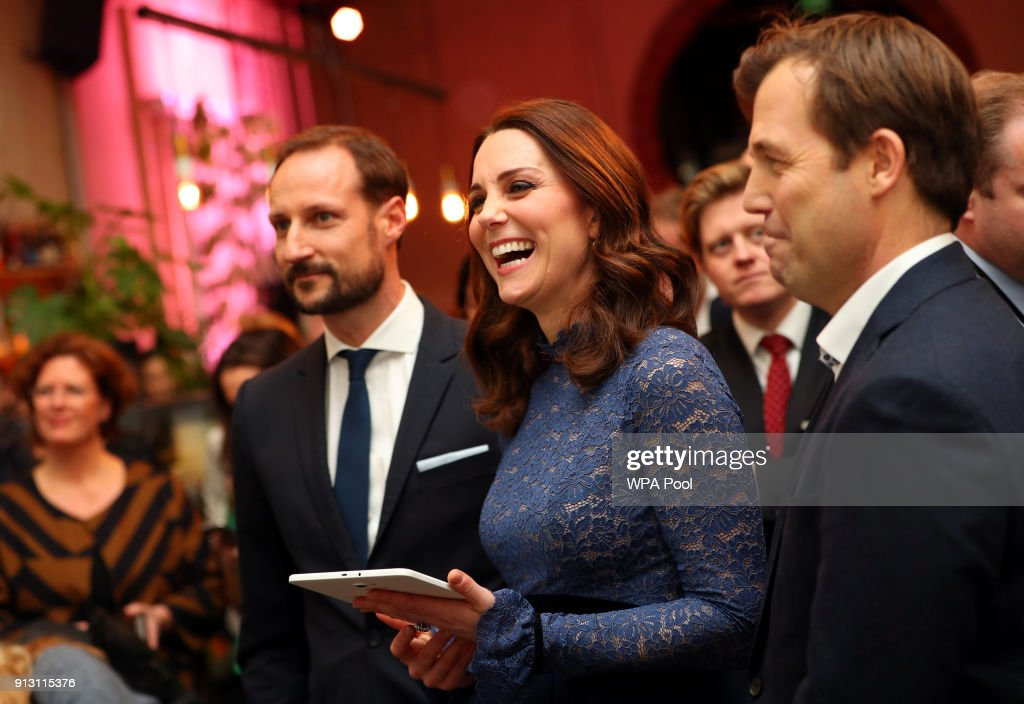 Catherine, Duchess of Cambridge visits 'MESH', a work-space for start-up tech companies on day 3 of their visit to Sweden and Norway on February 1, 2018 in Oslo, Norway.