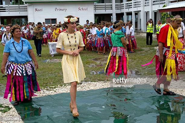 Catherine, Duchess of Cambridge visits Nauti Primary School during the Royal couple's Diamond Jubilee tour of the Far East on September 18, 2012 in...