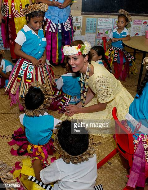 Catherine, Duchess of Cambridge visits Nauti Primary School on September 18, 2012 in Tuvalu. Prince William, Duke of Cambridge and Catherine, Duchess...