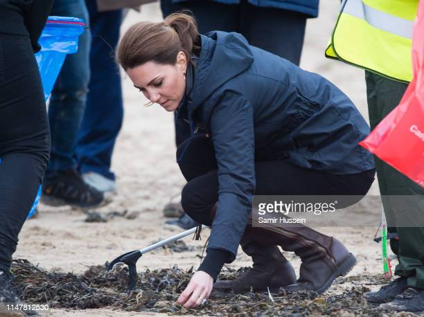 Catherine Duchess of Cambridge visits Newborough Beach to join the Menai Bridge Scouts as they explore the beach's wildlife habitat during a visit to...