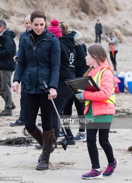 Catherine, Duchess of Cambridge visits Newborough Beach to join the Menai Bridge Scouts as they explore the beach's wildlife habitat during a visit...