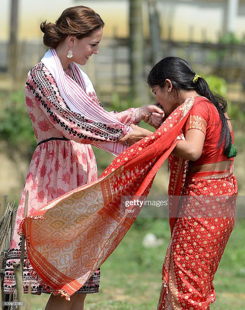 Catherine, Duchess of Cambridge visits Pan Bari Village in the Kaziranga National Park, meet villagers, look at a traditional weaving loom and and walk through a tea garden in Pan Bari Village on April 13, 2016 in Kaziranga, India.