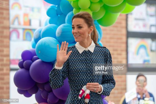 Catherine Duchess of Cambridge visits Queen Elizabeth Hospital in King's Lynn as part of the NHS birthday celebrations on July 5 2020 in Norfolk...