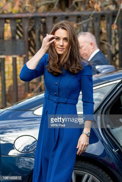 Catherine, Duchess of Cambridge visits Qyarry View one of Centrepoint's services, which supports homeless young people from the local area on...
