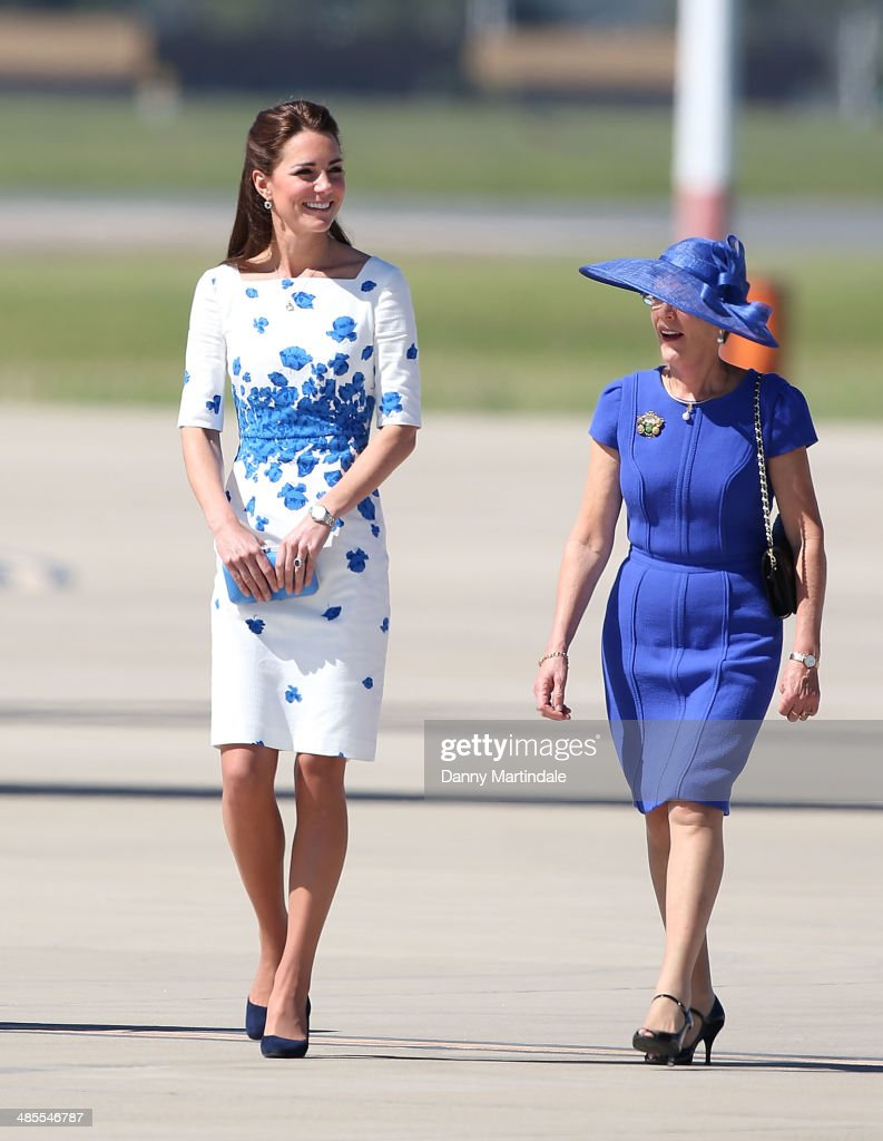 Catherine, Duchess of Cambridge visits RAAF Base Amberley on April 19, 2014 in Brisbane, Australia. The Duke and Duchess of Cambridge are on a three-week tour of Australia and New Zealand, the first official trip overseas with their son, Prince George of Cambridge.
