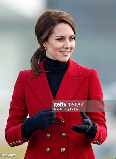 Catherine Duchess of Cambridge visits RAF Wittering to meet air cadets taking part in a halfterm skills development camp on February 14 2017 in...