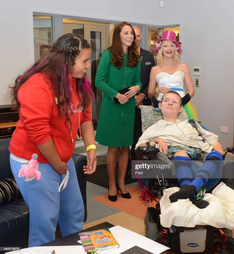 Catherine, Duchess of Cambridge visits Rainbow Place Hospice on April 12, 2014 in Hamilton, New Zealand. The Duke and Duchess of Cambridge are on a three-week tour of Australia and New Zealand, the first official trip overseas with their son, Prince George of Cambridge.