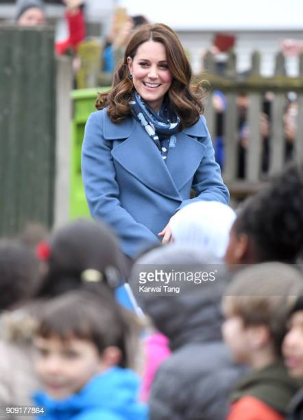 Catherine Duchess of Cambridge visits Roe Green Junior School on January 23 2018 in London England to launch a programme that supports children's...