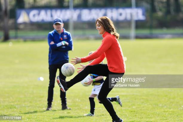 Catherine, Duchess of Cambridge visits Salthill GAA club and participate in some hurling and gaelic football on the third day of their first official...