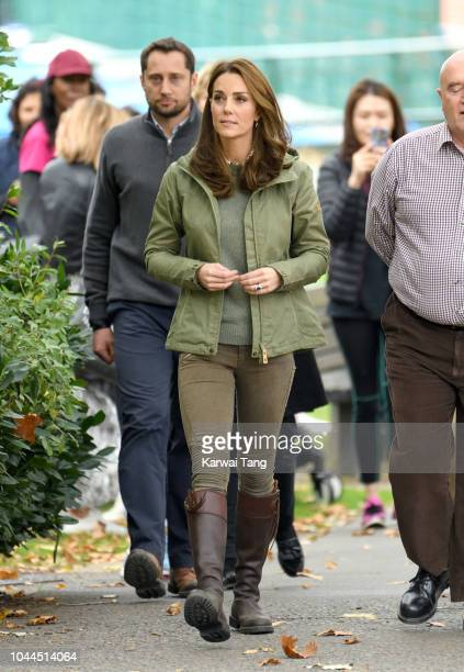 Catherine Duchess Of Cambridge visits Sayers Croft Forest School and Wildlife Garden on October 2 2018 in London England Sayers Croft is an activity...
