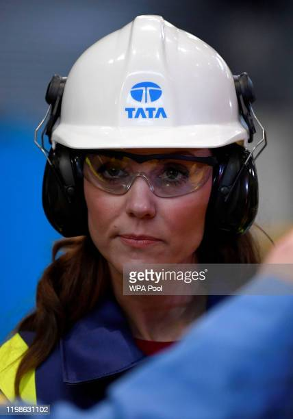 Catherine Duchess of Cambridge visits Tata Steel on February 04 2020 in Port Talbot Wales