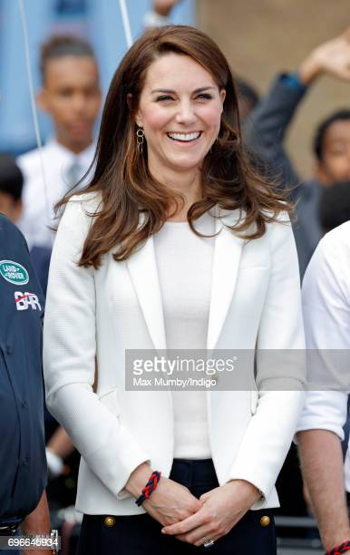 Catherine Duchess of Cambridge visits the 1851 Trust roadshow at the Docklands Sailing and Watersports Centre on June 16 2017 in London England The...