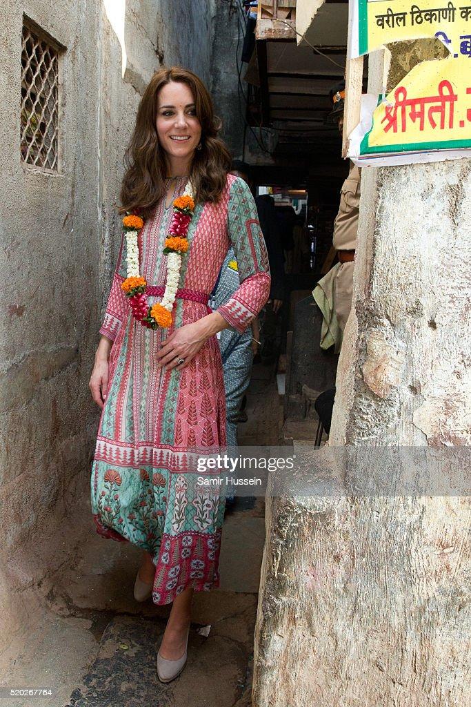 Catherine, Duchess of Cambridge visits the Banganga community on April 10, 2016 in Mumbai, India.