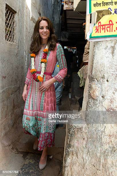 Catherine Duchess of Cambridge visits the Banganga community on April 10 2016 in Mumbai India