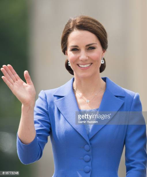 Catherine Duchess of Cambridge visits the Brandenburg Gate during an official visit to Poland and Germany on July 19 2017 in Berlin Germany