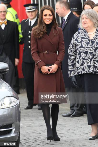 Catherine, Duchess of Cambridge visits The Brink a dry bar for recovering alcoholics on February 14, 2012 in Liverpool, England.