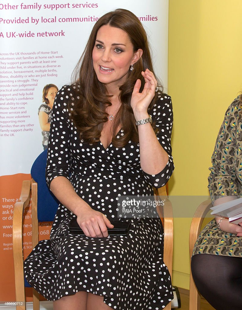 Catherine, Duchess of Cambridge visits the Brookhill Children's Centre in Woolwich to find out about the work of Home Start on March 18, 2015 in London, England.