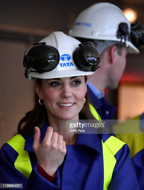 Catherine Duchess of Cambridge visits the control centre at Tata Steel on February 04 2020 in Port Talbot Wales