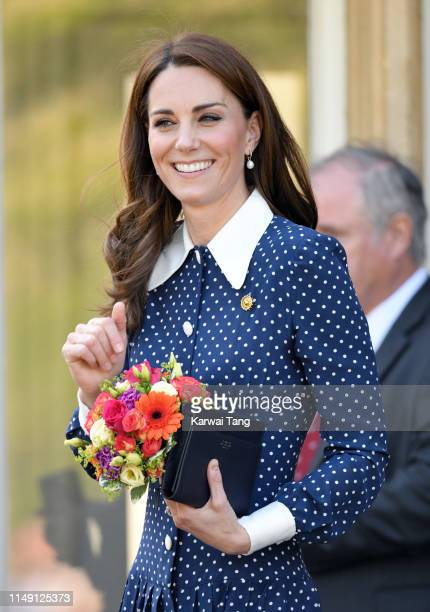 Catherine Duchess of Cambridge visits the DDay exhibition at Bletchley Park on May 14 2019 in Bletchley England The DDay exhibition marks the 75th...