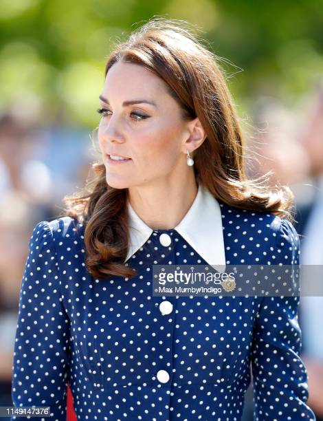 Catherine, Duchess of Cambridge visits the 'D-Day: Interception, Intelligence, Invasion' exhibition at Bletchley Park on May 14, 2019 in Bletchley,...