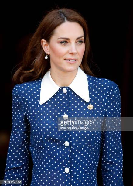 Catherine Duchess of Cambridge visits the 'DDay Interception Intelligence Invasion' exhibition at Bletchley Park on May 14 2019 in Bletchley England...