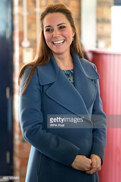 Catherine Duchess of Cambridge visits the 'Emma Bridgewater' pottery factory to view the production of a mug that the company has launched in support...