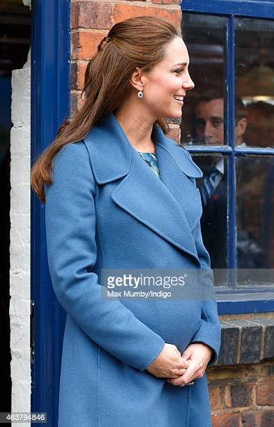 Catherine Duchess of Cambridge visits the Emma Bridgewater pottery factory to view the production of a mug that the company has launched in support...