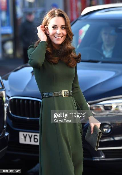 Catherine, Duchess of Cambridge visits the Family Action Charity on January 22, 2019 in Lewisham, England.