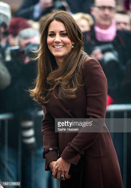 Catherine Duchess of Cambridge visits the Fishing Heritage Centre during an official visit to Grimsby on March 5 2013 in Grimsby England