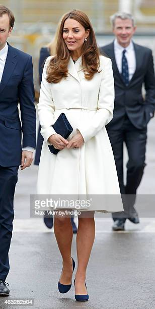 Catherine Duchess of Cambridge visits the headquarters of Ben Ainslie Racing in Portsmouth Old Town on February 12 2015 in Portsmouth England