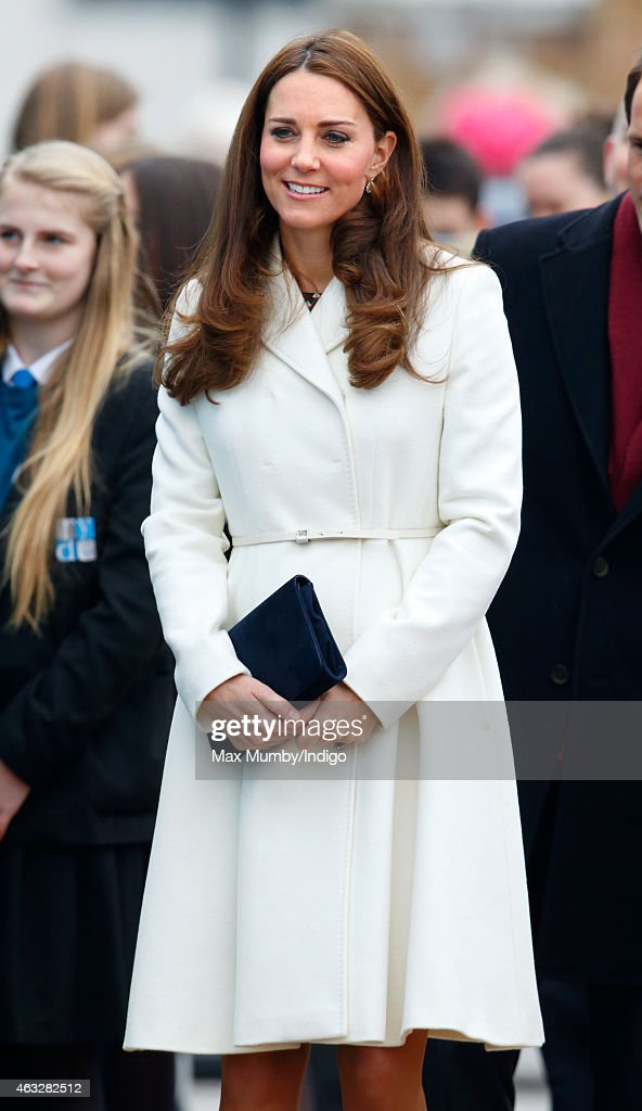 Catherine, Duchess of Cambridge visits the headquarters of Ben Ainslie Racing (BAR) in Portsmouth Old Town on February 12, 2015 in Portsmouth, England.