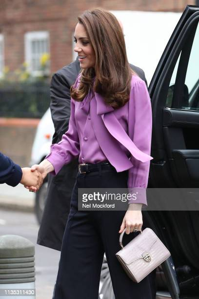 Catherine, Duchess of Cambridge visits the Henry Fawcett Children's Centre in Kennington on March 12, 2019 in London, England.