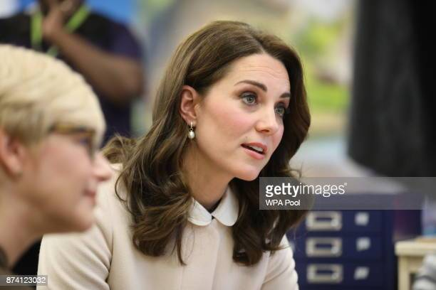 Catherine Duchess of Cambridge visits the Hornsey Road Children's Centre on November 14 2017 in Hornsey London England