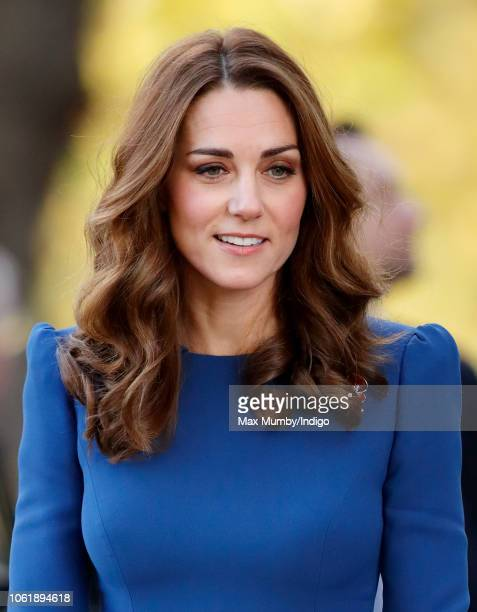 Catherine Duchess of Cambridge visits the Imperial War Museum to view family letters from World War One on October 31 2018 in London England