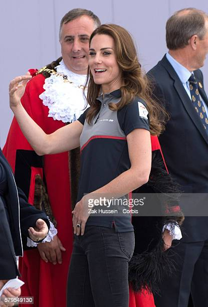 Catherine Duchess of Cambridge visits the Land Rover BAR at The America's Cup World Series on July 24 2016 in Portsmouth England
